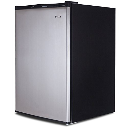 Della | Single Reversible Door Portable Mini Fridge | Mini Refrigerator Freezer | 3.0 Cubic Feet | Stainless Steel | SV by DELLA