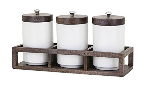 IMAX 95783-4 Christine Canisters in Wood Caddy - Set of Four