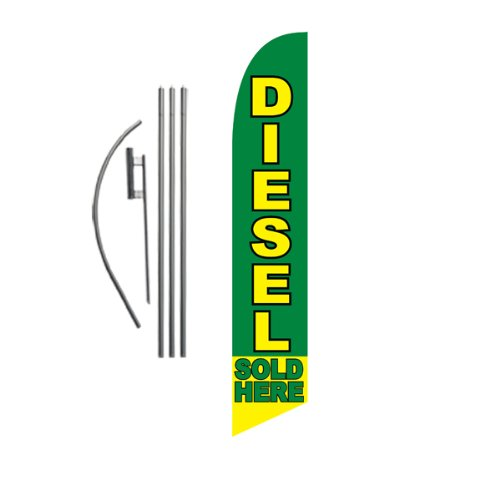 Diesel Sold Here 15ft Feather Banner Swooper Flag Kit - INCLUDES 15FT POLE KIT w/ GROUND SPIKE