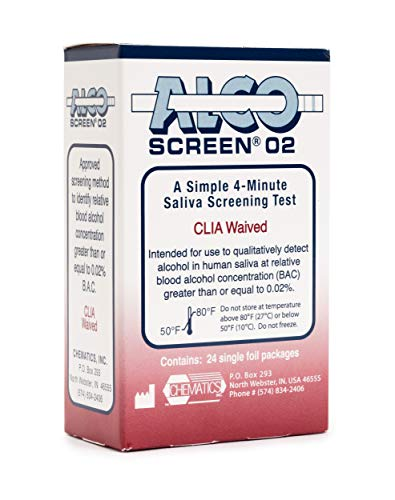Alco-Screen 2 Minute Saliva Alcohol Test (24 Kits) (Alcohol Testing Strips)
