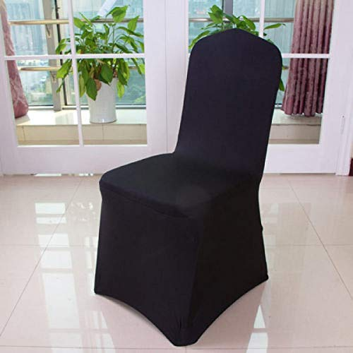 Thxbyebye 椅子カバー スパンデックス ライクラカバー 結婚式 宴会 パーティー フラットフロント ブラック 50個   B07GM4P47D