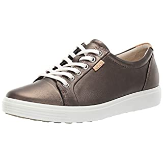 ECCO Women's Soft 7 Sneaker, Black Stone Metallic, 4-4.5