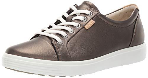 ECCO Women's Soft 7 Sneaker, Black Stone Metallic, 37 M EU (6-6.5 US)