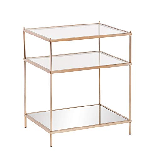Knox Side Table - Metallic Gold Metal Frame w/ Glass Tops - Glam Style Décor (Renewed)
