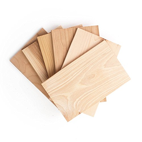 Wildwood Grilling Small Grilling Planks Sampler - 6-Flavor Variety Pack - Cedar, Alder, Cherry, Hickory, Maple, Red Oak - 5