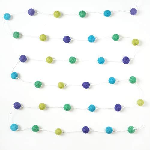 Decomod 100% Wool Felt Ball Garlands 9FT Long 35 Balls - Blues and Greens
