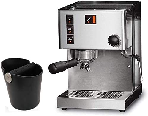 Round 4.8 Inch Shock-Absorbent Durable Barista Style Espresso Knock Box with Removable Metal Knock Bar and Non-Slip Base AILELAN Coffee Knock Box