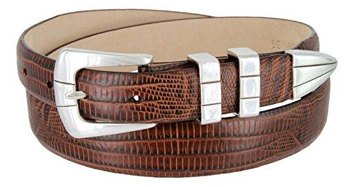 Vince Italian Calfskin Leather Designer Golf Dress Belt for Men (48, Lizard Brown) - Lizard Belt Straps