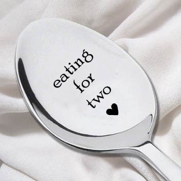 Arrival Gift - Eating For Two Spoon-Unique Pregnancy Reveal Idea- Pregnancy Gift- Baby Shower Gift-New Arrival Present