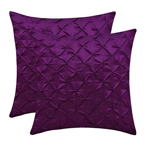 (The White Petals Light Purple Euro Sham Covers (Faux Silk, Pinch Pleat, 26x26 inch, Pack of 2))