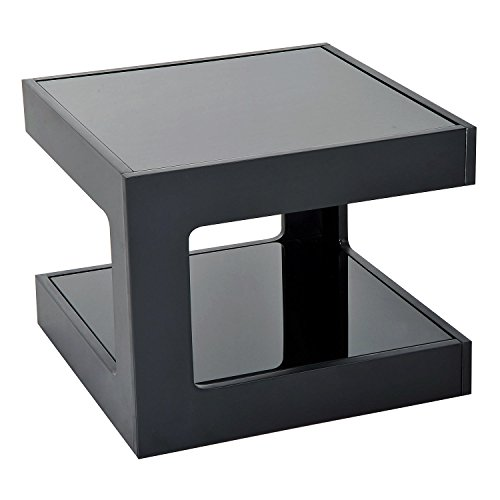 New Black Modern Square Cube Coffee Side Sofa End Table w/ Glass Top Living Room Furniture (Linen White Touch Up Paint)