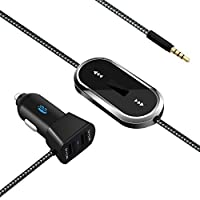 JDB FM Transmitter Wireless Radio Adapter Car Kit with 3.5mm Audio Plug and 4.8A Dual USB Car Charger for iPhone iPad Samsung LG HTC and More. ¡­