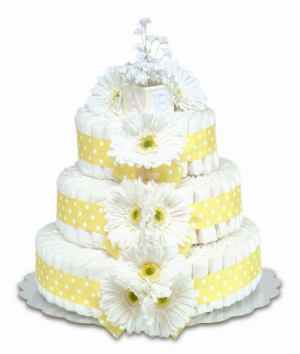 Bloomers Baby Diaper Cake Classic Yellow Gerbera Daisies 3-Tier by Bloomers