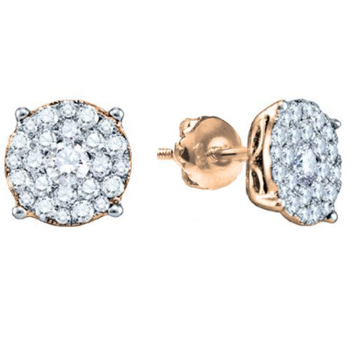 - 0.50 Carat (ctw) 14K Rose Gold Round Cut Diamond Round Shape Cluster Earrings Look of 1 CT each