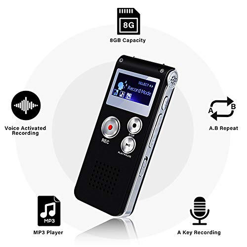 Digital Voice Recorder Voice Activated Recorder for Lectures, Meetings, Interviews EVIDA 8GB Audio Recorder Mini Portable Tape Dictaphone with Playback, USB, MP3