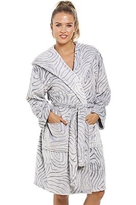 Camille Womens Ladies Gray Supersoft Fleece Zebra Print Hooded Bathrobe