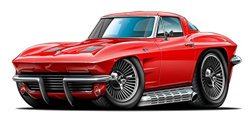 Peel Coupe - 1963 Corvette 327 Split Window Coupe with Side Exhaust WALL DECAL 3ft long Sport Car Graphic Sticker Man Cave Garage Boys Room Decor