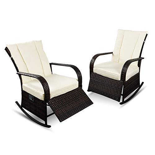 YIKEEA 1-2 Pieces Patio PE Rattan Wicker Rocking Chair Auto Adjustable Patio Sofa Relaxing Lounge Chair Furniture (2 Pieces, Brown)