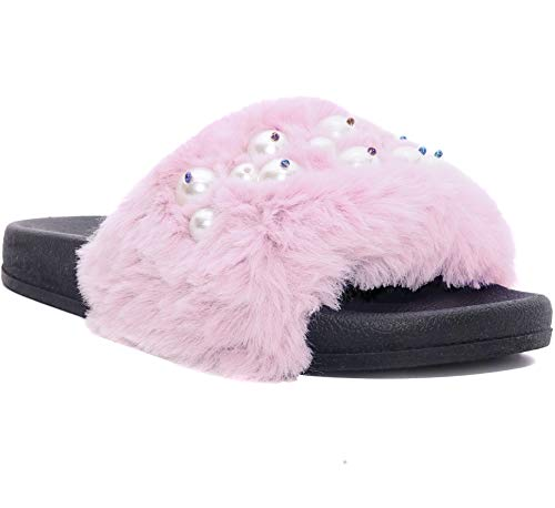 Poodle Pink Fuzzy - Charles Albert Women's Soft Faux Fur Poodle Slide Fuzzy Slipper Sandals (8, Pink)