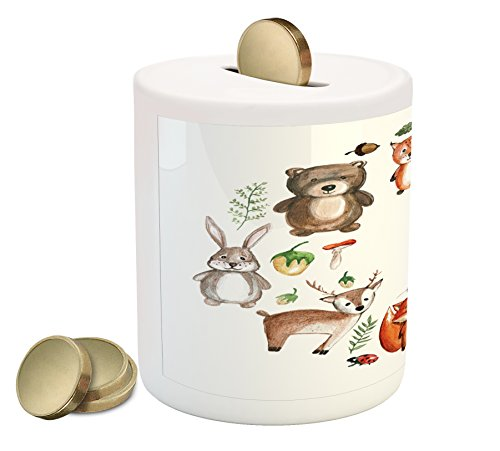 Lunarable Woodland Piggy Bank, Animals of The Forest with Mushrooms Acorns Circular Frame Cartoon Pastel Colors, Printed Ceramic Coin Bank Money Box for Cash Saving, ()