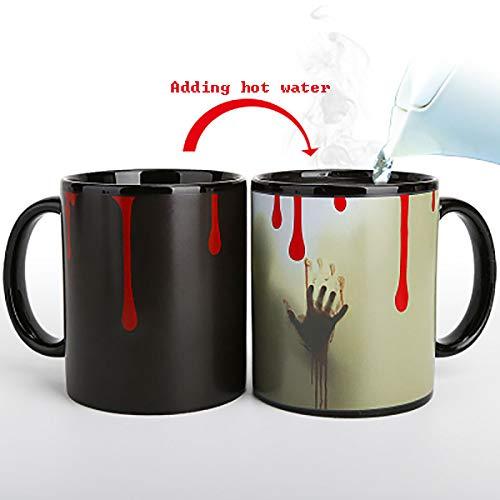 DZLXY Funny Heat Changing Mug Coffee Milk Tea Ceramic Mugs - Best Creative Fun Gifts Ideas for Birthdays,Halloween Friends Presents,Black ()