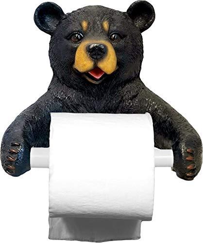 DWK 8-inch Hugo Holder Black Bear Toilet Paper Holder Rustic Woodland Forest Themed Kitchen Bathroom Cabin - Holder Paper Toilet Northwood