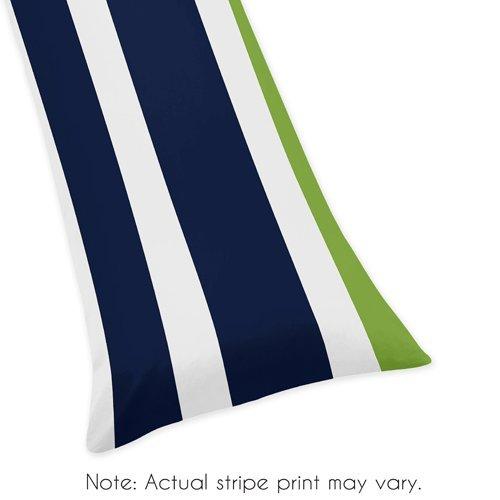 Sweet Jojo Designs Blue, Lime Green and White Stripe Full Length Double Zippered Body Pillow Case Cover