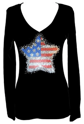 Star Flag July 4th Independence Rhinestone V Neck Long Sleeve Tee Shirt (Womens Halloween Bling Shirts)