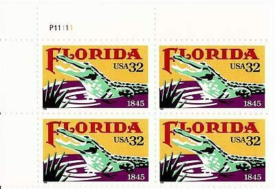 USA 1995 32-Cent Florida Statehood Plate Block of 4 Postage Stamps, Catalog No -