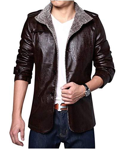 Tan Cashmere Pelle Manica Da Uomo Plus Lunga In Moto Slim Coat Giacca Risvolto Yw6qZ7qF