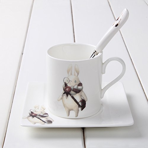 Cup and Saucer, FairTree Bone China Animal Coffee mug Set China Tea Cup Set with Saucer and Spoon (Miss rabbit)