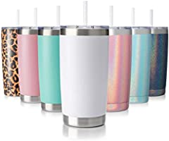 Civago 20oz Tumbler Stainless Steel Coffee Tumbler Double Wall Vacuum Insulated Travel Mug with Lid and Straw
