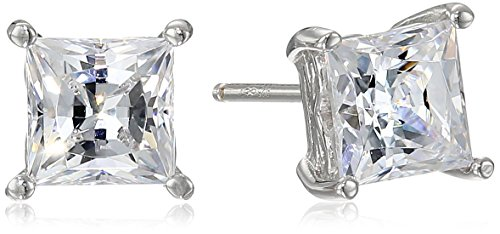 - Platinum Plated Sterling Silver Stud Earrings set with Princess Brilliant Cut Swarovski Zirconia (2 cttw)