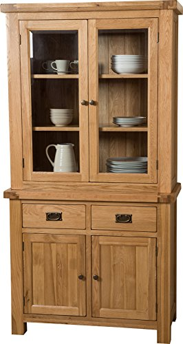 Hermosa Victoria Welsh Dresser Cabinet with Lacquer Finish, Solid Oak, Brown, Small, 98 x 43 x 191 cm