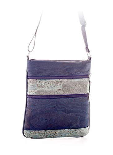 Artelusa Cork Crossbody Bag Blue with Zips Adjust/Strap Eco-Friendly Handmade in Portugal