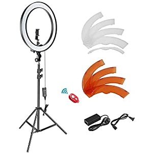 Flashandfocus.com 41pUoWT9GcL._SS300_ Neewer 18-inch SMD LED Ring Light Dimmable Lighting Kit with 78.7-inch Light Stand, Filter and Hot Shoe Adapter for…