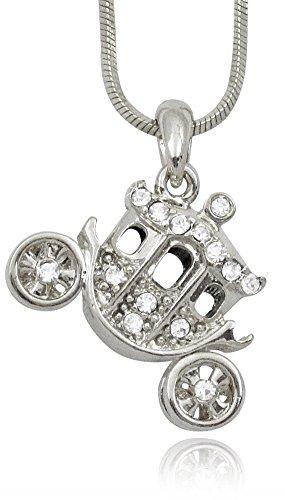 Crystal 3D Princess Pumpkin Carriage Fairy Tale Charm Necklace Girls, Teens, Women (Trophy Wife Costume Ideas)