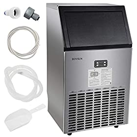 ROVSUN Commercial Ice Maker Automatic Built-In Stainless Steel Under counter/Portable Freestanding for Restaurant Bar, 33lbs Storage,100lbs/24h,5 Accessories, 18″Lx16″Wx31″H, 115V,USA