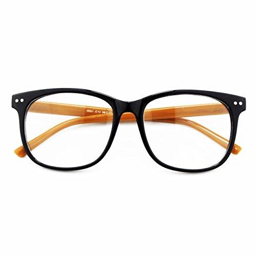 [Happy Store CN81 Large Oversized Bold Frame UV 400 Clear Lens Horn Rimmed Glasses,Black Brown] (Geek Chic Glasses)