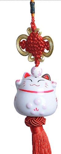 Maneki Neko - Japanese Lucky Cat Charm - Porcelain Figurine Hanging Pendant (Red)