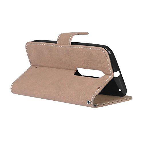 YHUISEN Estilo retro de color sólido Premium PU cuero cartera de la caja Flip Folio cubierta protectora de la caja con ranura para tarjeta / soporte para Motorola Moto X estilo ( Color : Brown ) Beige