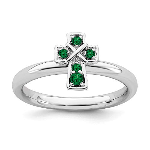 - FB Jewels Solid Sterling Silver Stackable Expressions Rhodium Created Emerald Cross Ring Size 6
