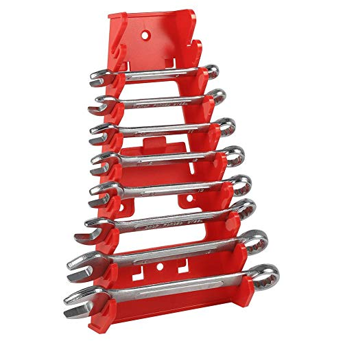 Wrench Holder, Plastic Wrench Rack with 9 Slots Easily Mounted on The Wall Store and Go Keeper Wrench Organizer, 22 12 3.5Cm, Red