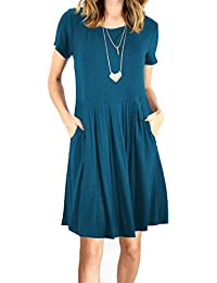 Women's Pleated Swing Dress Long/Short Sleeve Casual T Shirt Dress with Pockets