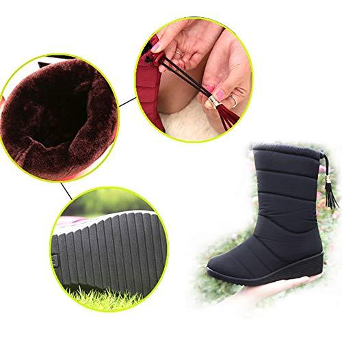 a de Botas Botas Mujer Invierno del Nieve Moda Terciopelo Zapatos tal de de de con cu de de wqIqZnp1