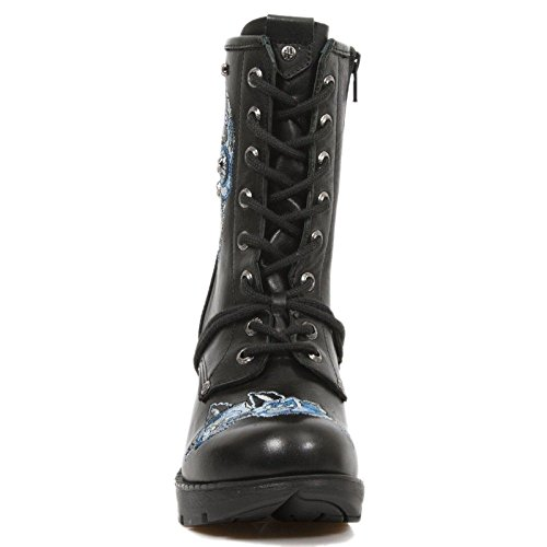 Smart Range New Rock M.TR048-S2 Ladies Black Sugar Skull Embroidery Leather Trail Boots