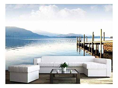Large Wall Mural Oil Painting Style Landscape with Wood Pier and Peaceful Lake Vinyl Wallpaper Removable Wall Decor