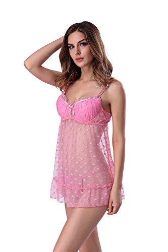 Dearmoon Women Polka Dots Push Up Padded Lingerie Sexy Spaghetti Strap Lace Chemises (XXL, Pink)