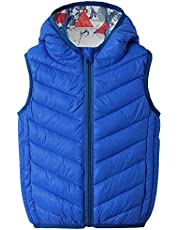 Baby Boy Girls Quilted Sleeveless Jacket Hooded Puffer Vest Full Zip Waistcoat Pure Color Ultra Light Gilet 2-7 Years