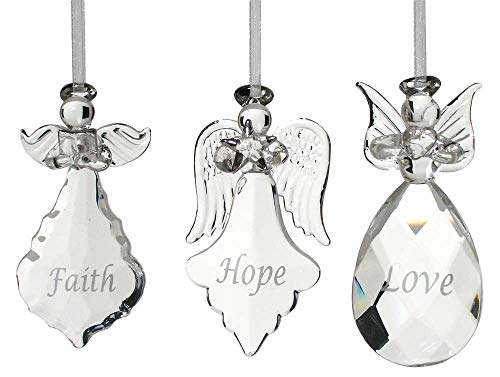BANBERRY DESIGNS Faith Hope Love Angel Ornaments - Set of 3 Crystal Hanging Angels - Faith Hope Love Written on Each Ornament in Silver - Angel Christmas Tree Decorations